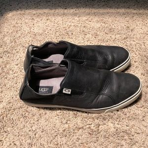 UGG black leather slip-on sneakers